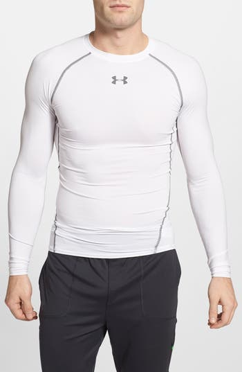 Under Armour Heatgear Compression Fit Long Sleeve T-Shirt, White