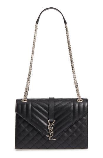 Saint Laurent Medium Sunset Calfskin Shoulder Bag - Black In Noir