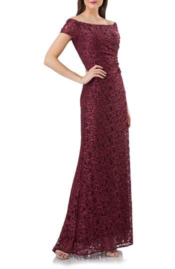 Women's Carmen Marc Valvo Infusion Sequin Lace Off The Shoulder Mermaid Gown, Size 6 - Purple