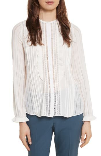 Women's Rebecca Taylor Silk & Lace Long Sleeve Blouse