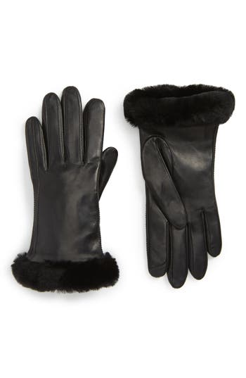 Ugg Classic Leather Tech Gloves With Genuine Shearling Trim, Black
