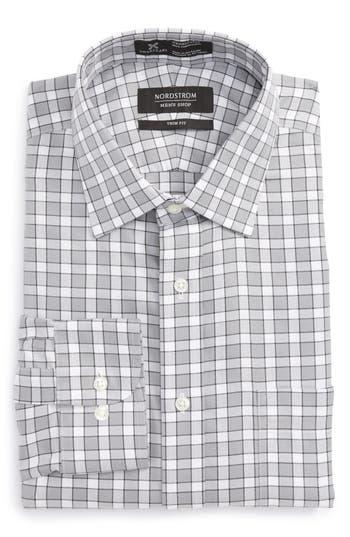 Men's Nordstrom Men's Shop Smartcare(TM) Trim Fit Check Dress Shirt, Size 17.5 32/33 - Grey