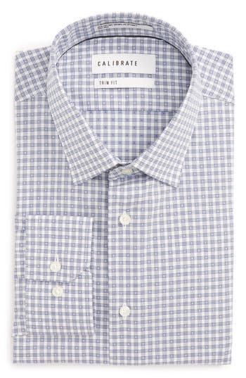 Men's Calibrate Trim Fit Non-Iron Stretch Check Dress Shirt