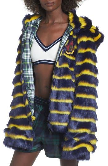 Women's Fenty Puma By Rihanna Faux Shearling Hooded Jacket, Size Medium - Blue