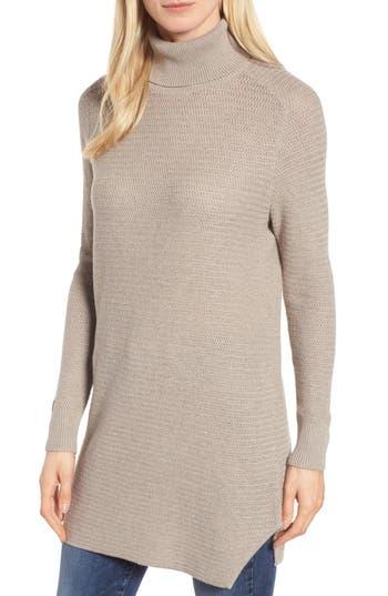 Women's Halogen Turtleneck Tunic Sweater, Size Small - Brown