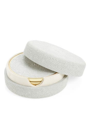 Aerin Shagreen Set Of 4 Coasters With Lidded Holder, Size One Size - Grey