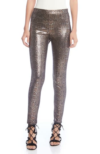 Vintage High Waisted Trousers, Sailor Pants, Jeans Womens Karen Kane Metallic Print Leggings $79.06 AT vintagedancer.com