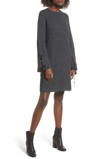 Bp. Tie Sleeve Sweater Dress, Grey