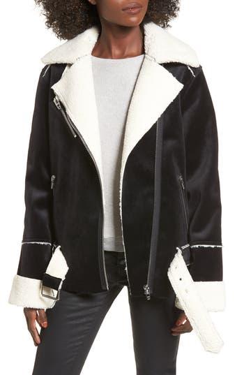 Women's Blanknyc Faux Shearling & Velvet Jacket, Size Large - Black