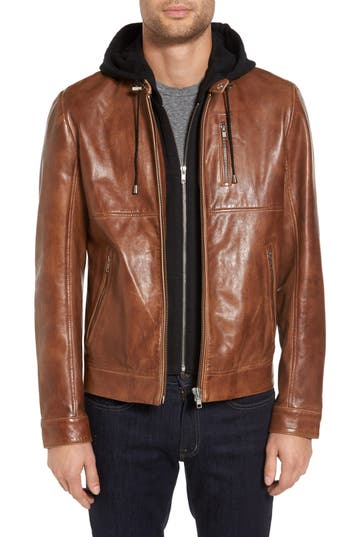 Men's Lamarque Leather Moto Jacket With Removable Hood