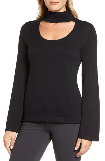 Petite Women's Vince Camuto Bell Sleeve Choker Neck Sweater