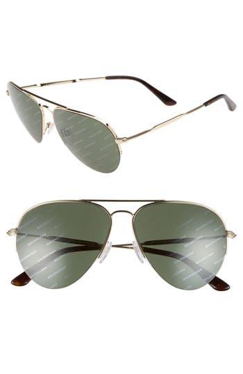 Women's Balenciaga 58Mm Aviator Sunglasses - Gold/ Green With Logomania