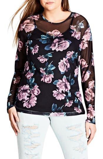 Plus Size Women's City Chic Floral Print Mesh Top