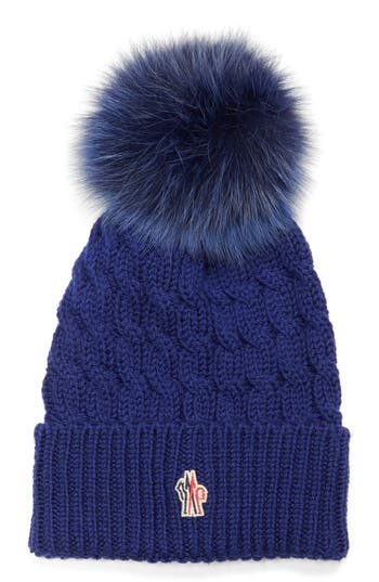 Women's Moncler Genuine Fox Fur Pom Ribbed Wool Beanie -
