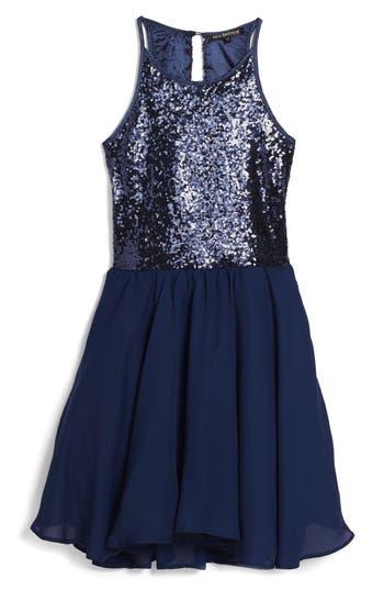 Girl's Miss Behave Josie Sequin Bodice Chiffon Dress