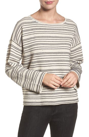 Women's Eileen Fisher Stripe Organic Cotton Blend Sweater, Size Large - Beige