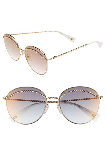 Women's Marc Jacobs 58Mm Round Sunglasses - Gold