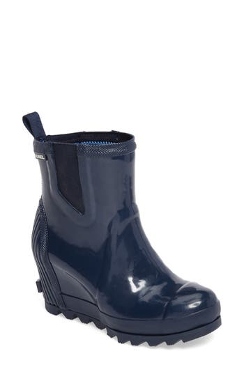 Sorel Joan Glossy Wedge Rain Boot, Blue