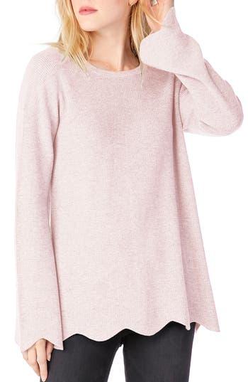 Michael Stars Sweaters CREWNECK SCALLOPED HEM SWEATER