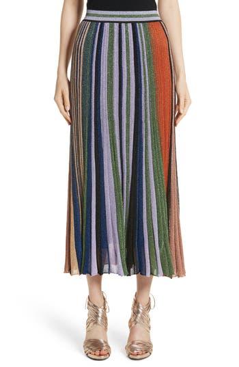 Women's Missoni Metallic Stripe Knit Midi Skirt, Size 2 US / 38 IT - Orange