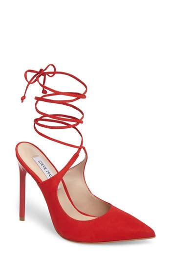 Women's Steve Madden Raven Ankle Wrap Pump, Size 5 M - Red