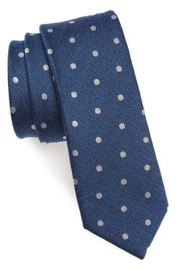 1960s Men's Clothing, 70s Men's Fashion Mens The Tie Bar Dotted Hitch Silk  Wool Skinny Tie $19.00 AT vintagedancer.com