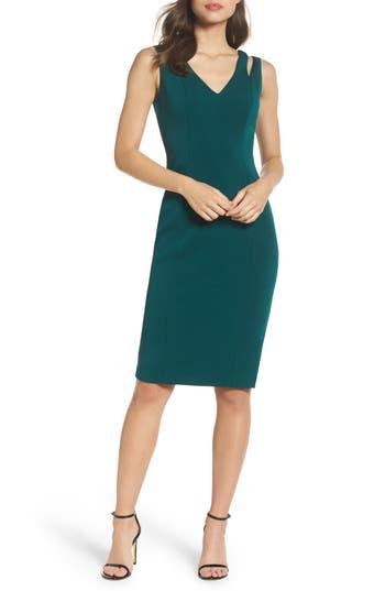 Vince Camuto Cutout Shoulder Crepe Sheath Dress, Green