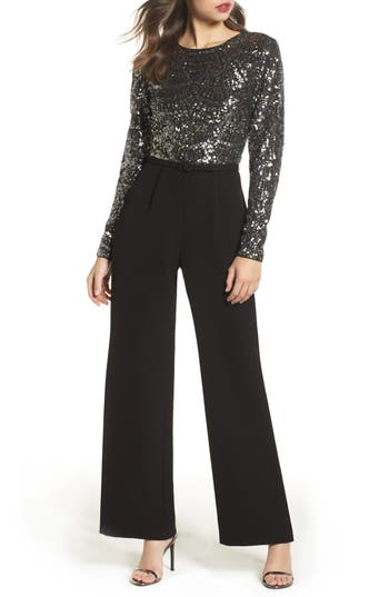 Vince Camuto Belted Sequin & Crepe Jumpsuit, Metallic