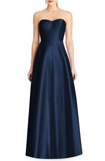Alfred Sung Strapless Sateen Gown, Blue