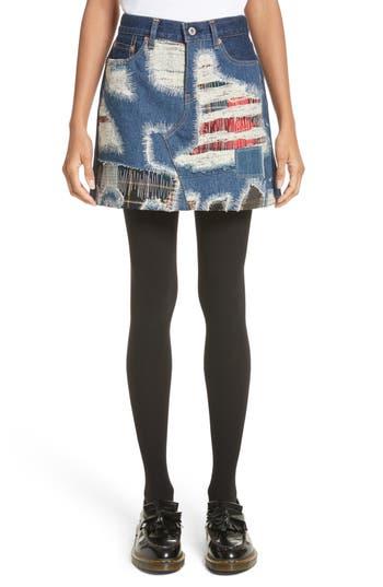 Women's Junya Watanabe Distressed Patch Denim Miniskirt, Size X-Small - Blue