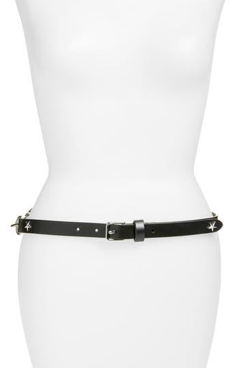 Rebecca Minkoff Dog Clip Star Studded Skinny Belt, Black