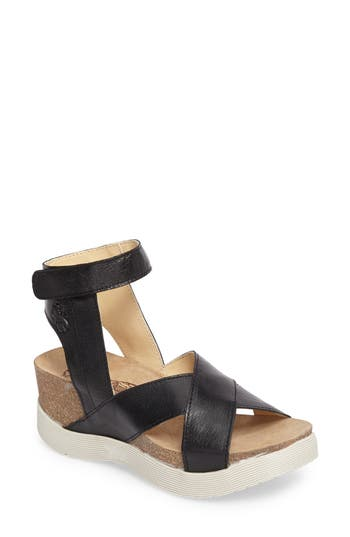 Fly London Weel Nubuck Leather Platform Sandal, Black