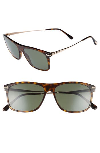 Men's Tom Ford Max 57Mm Polarized Sunglasses - Dark Havana/ Green Polarized