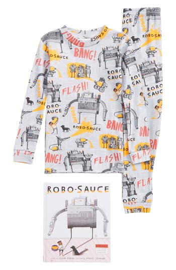 Boy's Books To Bed Robo-Sauce Fitted Two-Piece Pajamas & Book Set