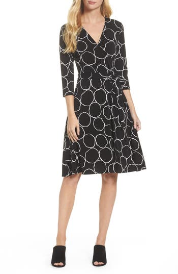 Women's Leota Print Jersey Faux Wrap Dress, Size X-Small - Black