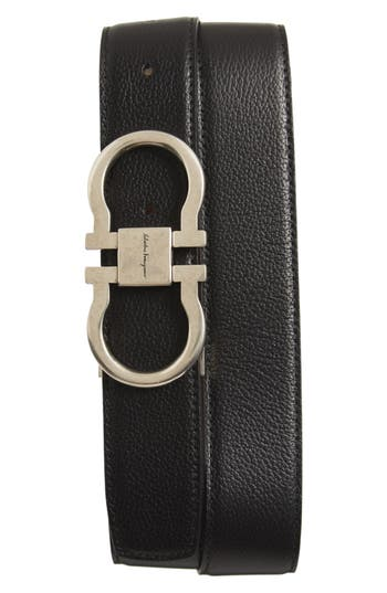 Men's Salvatore Ferragamo Double Gancini Reversible Leather Belt