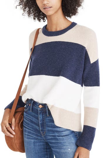 Women's Madewell Sycamore Stripe Sweater, Size X-Small - Blue