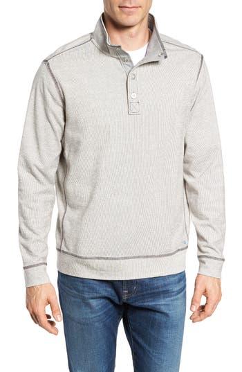Big & Tall Tommy Bahama Ocean Mist Snap Mock Neck Sweater - Black