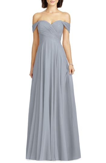 1940s Evening, Prom, Party, Cocktail Dresses & Ball Gowns Womens Dessy Collection Lux Off The Shoulder Chiffon Gown Size 16 - Grey $270.00 AT vintagedancer.com