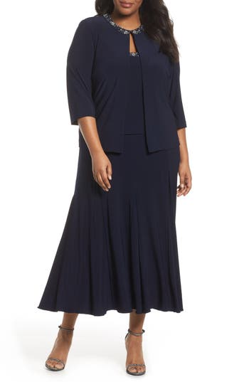 1930s Evening Dresses | Old Hollywood Dress Plus Size Womens Alex Evenings Beaded Dress  Jacket Size 24W - Blue $239.00 AT vintagedancer.com