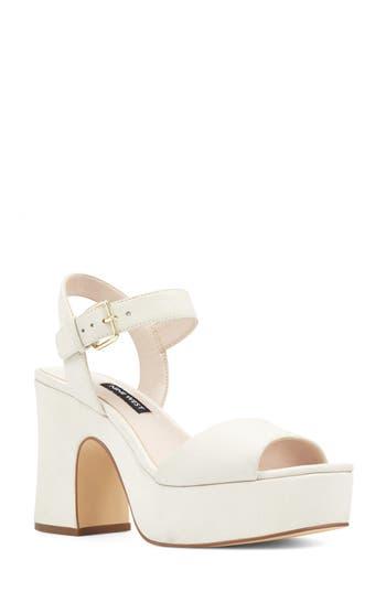 60s Shoes, Boots | 70s Shoes, Platforms, Boots Womens Nine West Fallforu Platform Sandal Size 11 M - White $99.95 AT vintagedancer.com