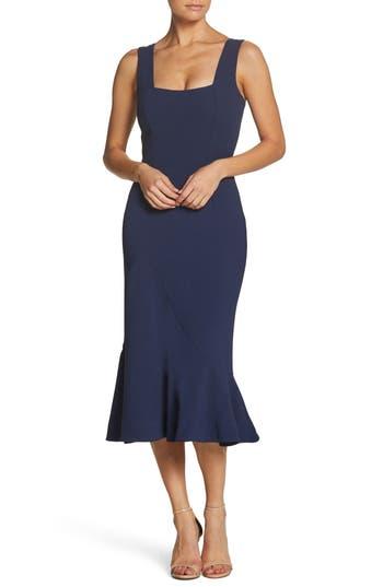 1930s Style Dresses | 30s Art Deco Dress Womens Dress The Population Monica Tea Length Trumpet Dress Size XX-Large - Blue $218.00 AT vintagedancer.com