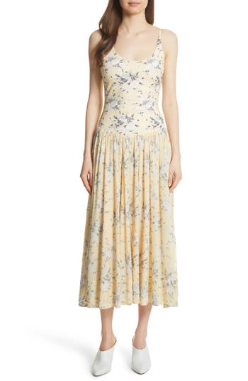 Rebecca Taylor Lemon Rose Jersey Midi Dress, Yellow