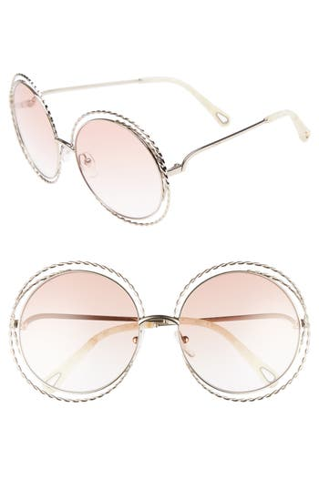 Chloe Carlina Torsade 5m Round Sunglasses - Gold/ Peach