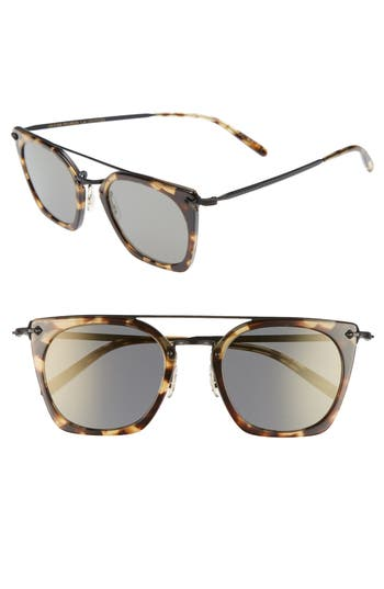Oliver Peoples Dacette 50Mm Square Aviator Sunglasses - Hickorty Tortoise