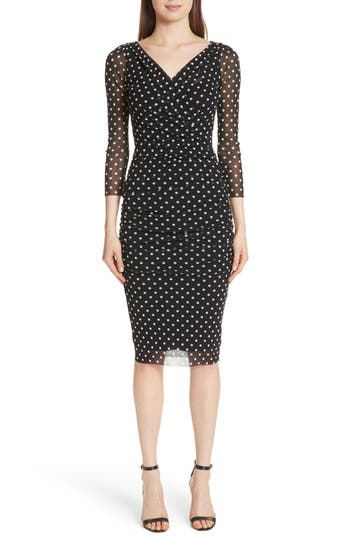 Fuzzi Polka Dot Tulle Surplice Dress, Black