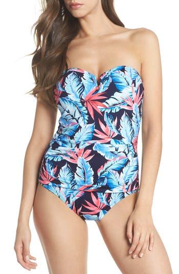 Tommy Bahama Palms Of Paradise Bandeau One-Piece Swimsuit, Blue