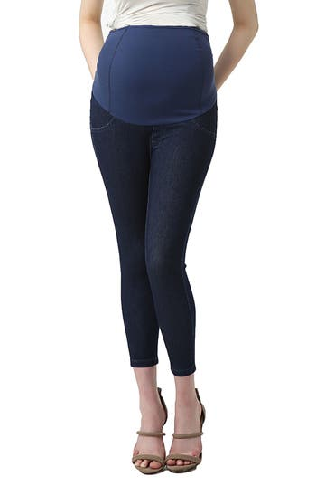 Kimi And Kai Tia Cropped Denim Maternity Leggings, Blue