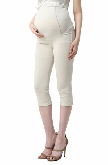 Kimi And Kai Melody Capri Denim Maternity Leggings, Beige