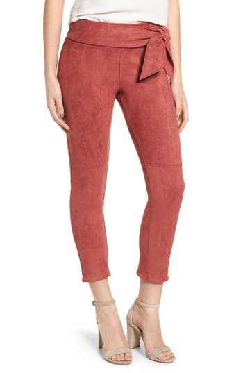 David Lerner Waist Tie Skimmer Leggings, Red
